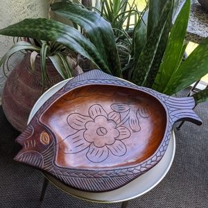 Vintage Wood Carved Fish Dish Boho Home Decor